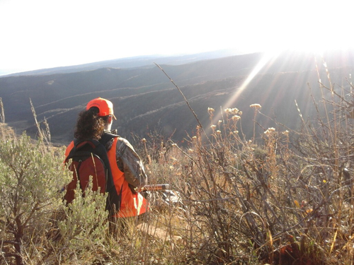 This hunter enjoys an early morning view overlooking the valley below.  Joe Gutierrez photo