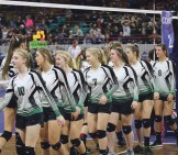 """The Rangely volleyball team shook hands with Dolores players after the Panthers beat the Bears in the final match of the season for both teams in the 2A Colorado State Volleyball Championships last weekend in the Denver Coliseum. The Panthers build on season where they won 22 matches, a regional title and opportunity to play in the Big Show for the first time in seven years. """"I'm excited to see how we grow,"""" head coach Marybel Cox said. Matt Scoggins photo"""