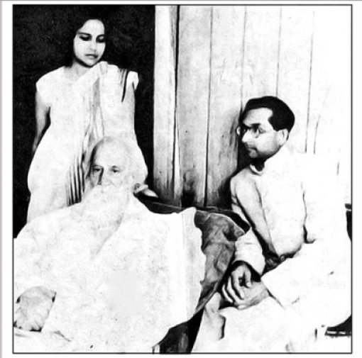 Photograph of Rabindranath Tagore with Rani Chanda and Anil Chanda
