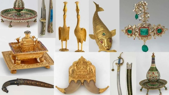 Gifts received by Prince of Wales on his tour, includes jewellery, armour, metal and enamel work