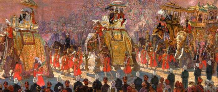 state entry delhi durbar painting elephants
