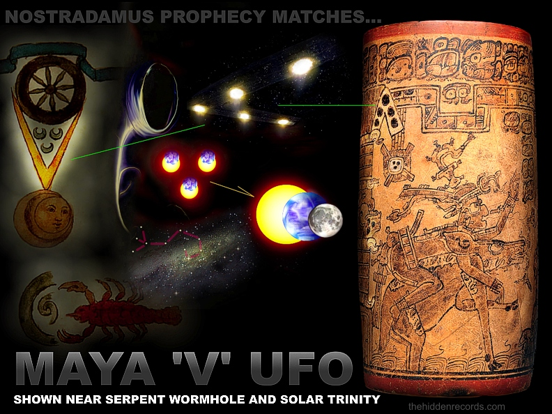 V shape UFO on Maya vase