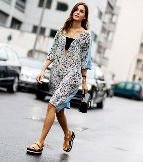 Beach Worthy Shift Dress With Deep Dip Paired With Statement Flatform Sandals for Jaunt Around Town