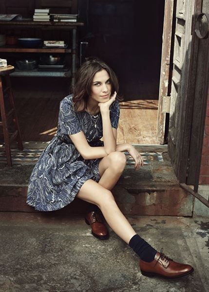 Blue Ocean Wave Dress with Black Socks and brown Oxfords