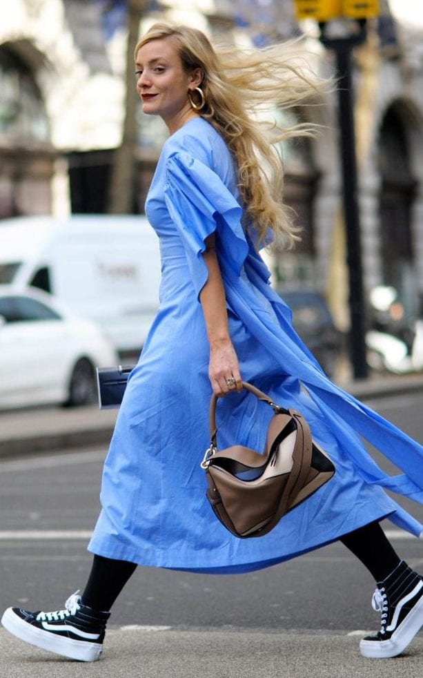 Flatform sneakers (yeah, they're a thing) paired with a lovely blue denim day dress.