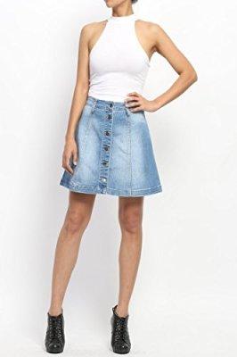 TheMogan Women's Button Up Washed Denim A-line Skirt High Waist