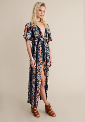 What to Wear to a Music Festival Outfit Ideas Bohemian Romper Blue Floral