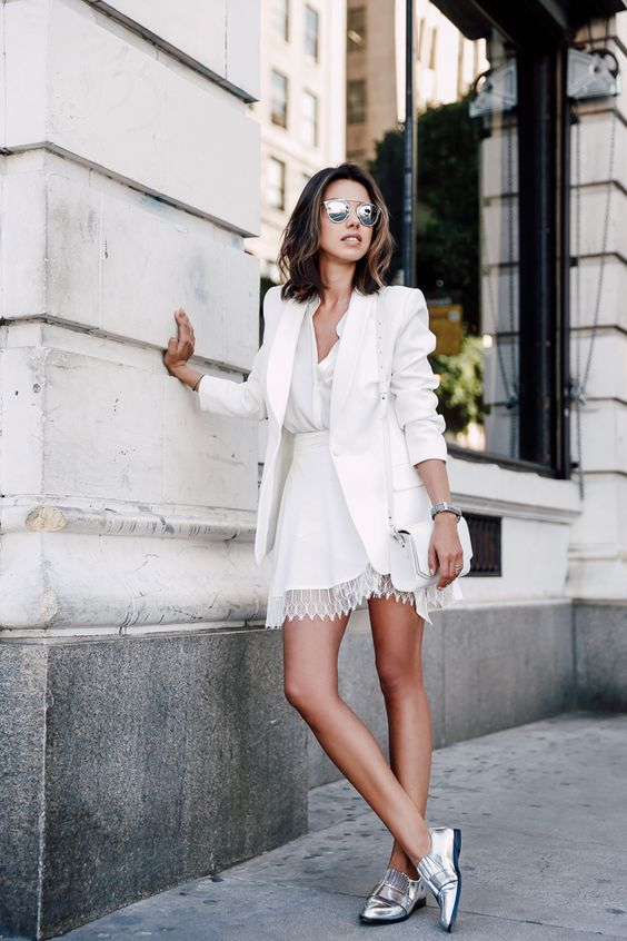 White outfit with silver shoes