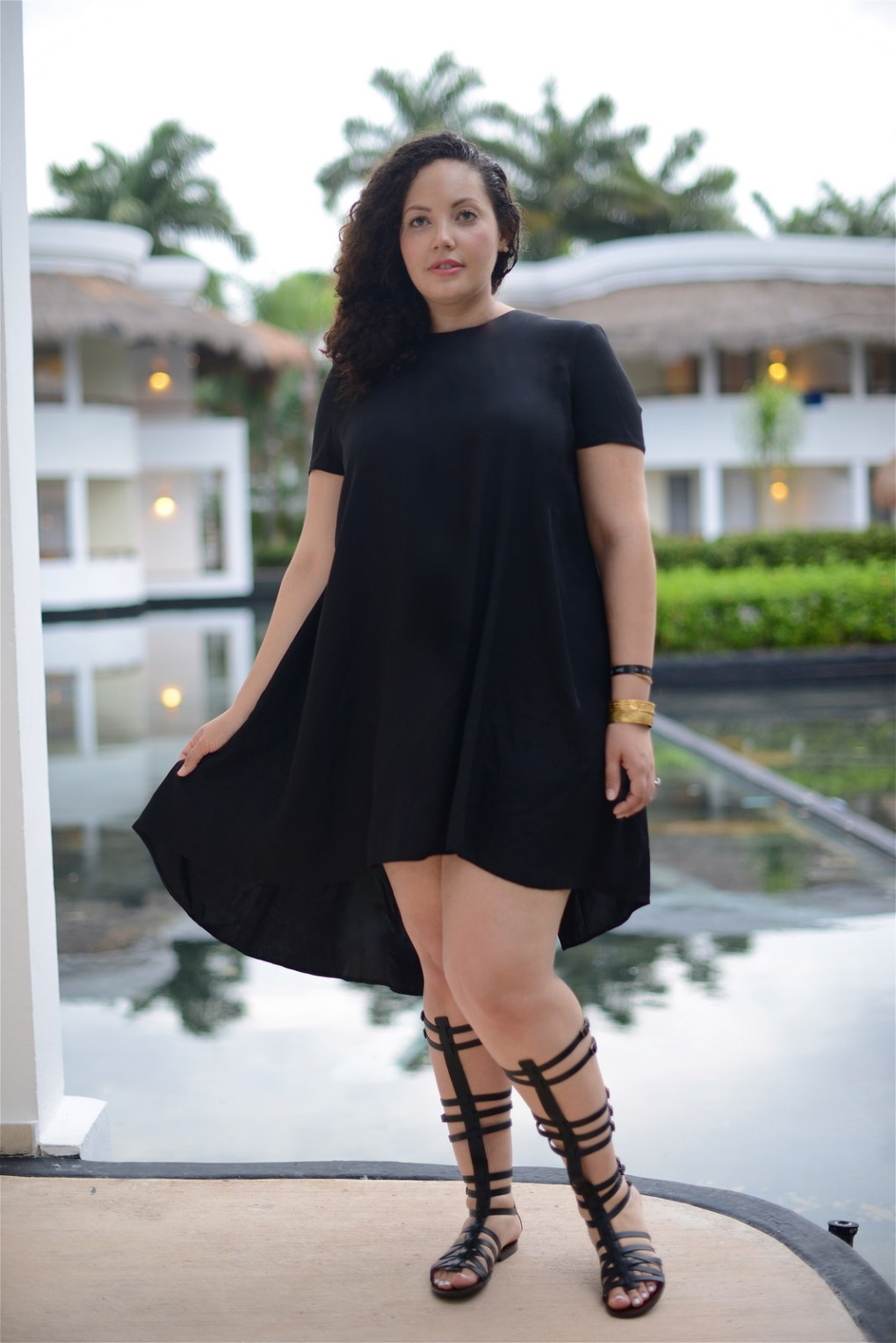 How To Wear Gladiator Sandals and black dress