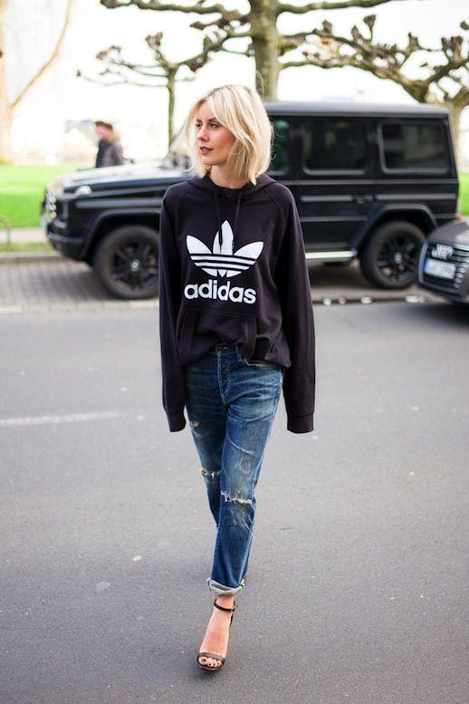 athleisure hoodie and heels