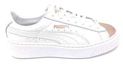 BEST WHITE SNEAKERS PUMA Women's Basket Platform Metallic Fashion Sneakers