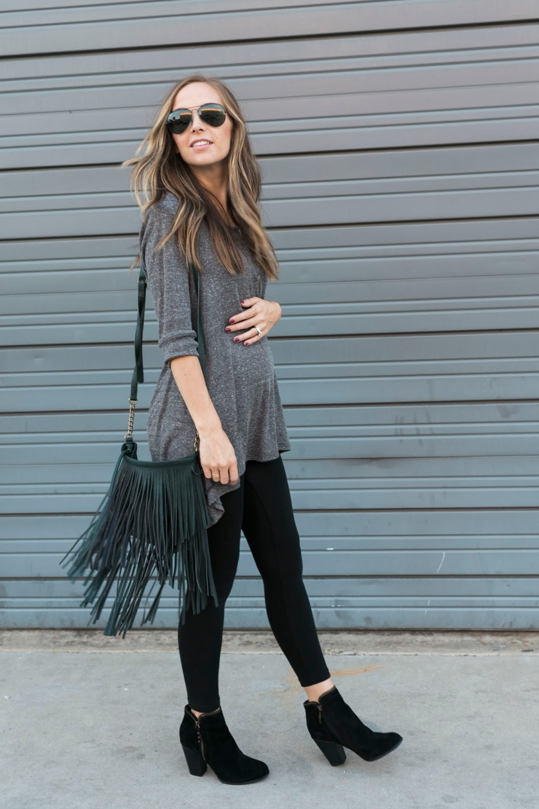 dress with leggings and booties