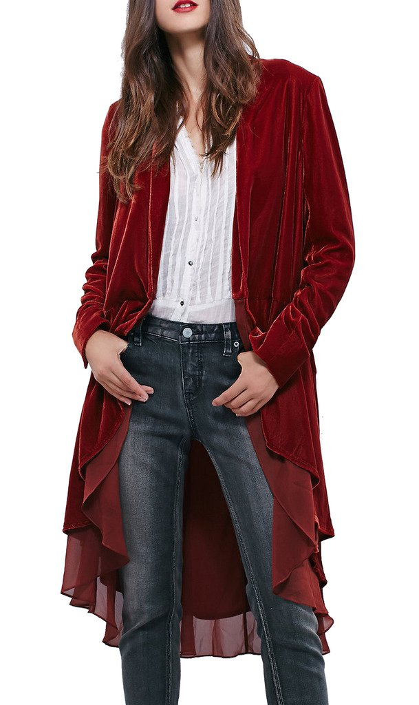 R.Vivimos Women Ruffle Asymmetric Velvet Long Coat