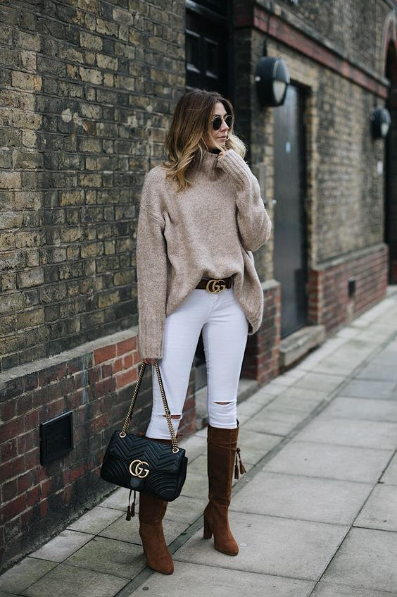 white jeans beige turtleneck