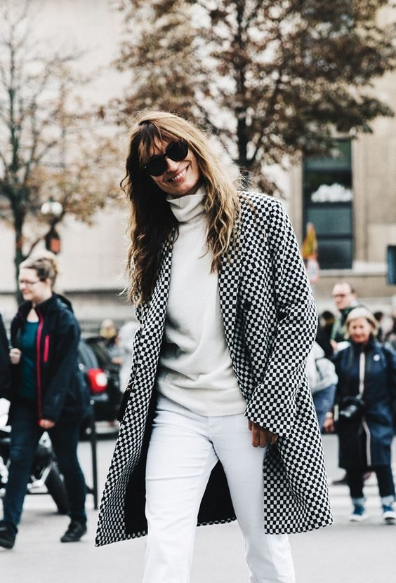 white jeans checked coat