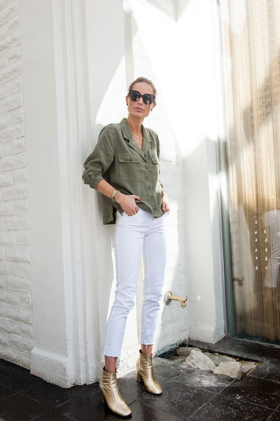 white jeans military jacket