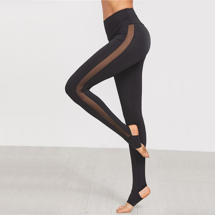 best black leggings Wide Waistband Side Mesh Leggings
