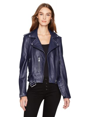 Bagatelle.NYC Women's Washed Leather Biker Jacket