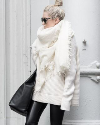 Leather and blanket scarf