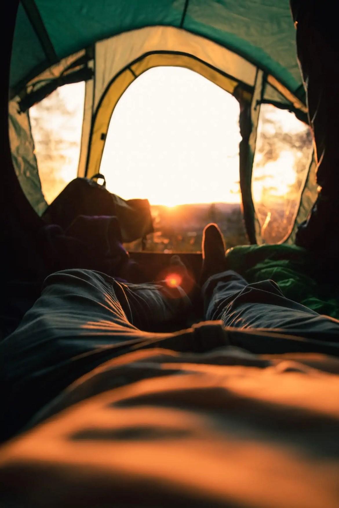 Slapen in een tent slaapzak