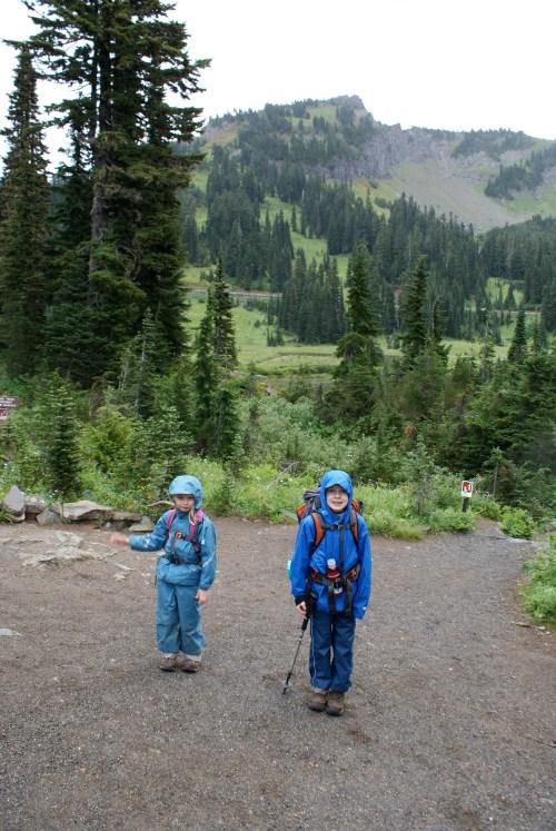 Tipsoo Lake, Chinook Pass, hiking with children, kids in rain, rain gear for children