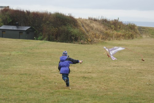 fort casey, child flying kite, washington state parks, whidbey island