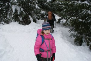 snowshoeing with children, winter hikes, gold creek pond snowshoe