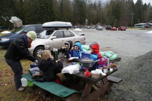 hiking with kids, children lunch in nature, MSR Pocket Rocket, GSI Cookware, REI Thermos, marblemount fish hatchery