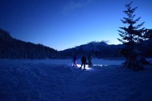gold creek snowshoe, night hiking, winter hikes with children