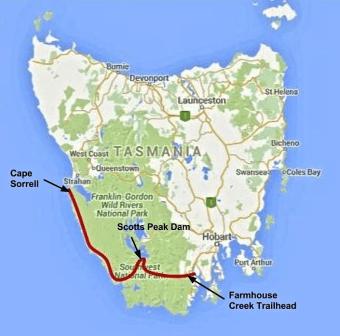 SW Tassie Traverse Overview Map