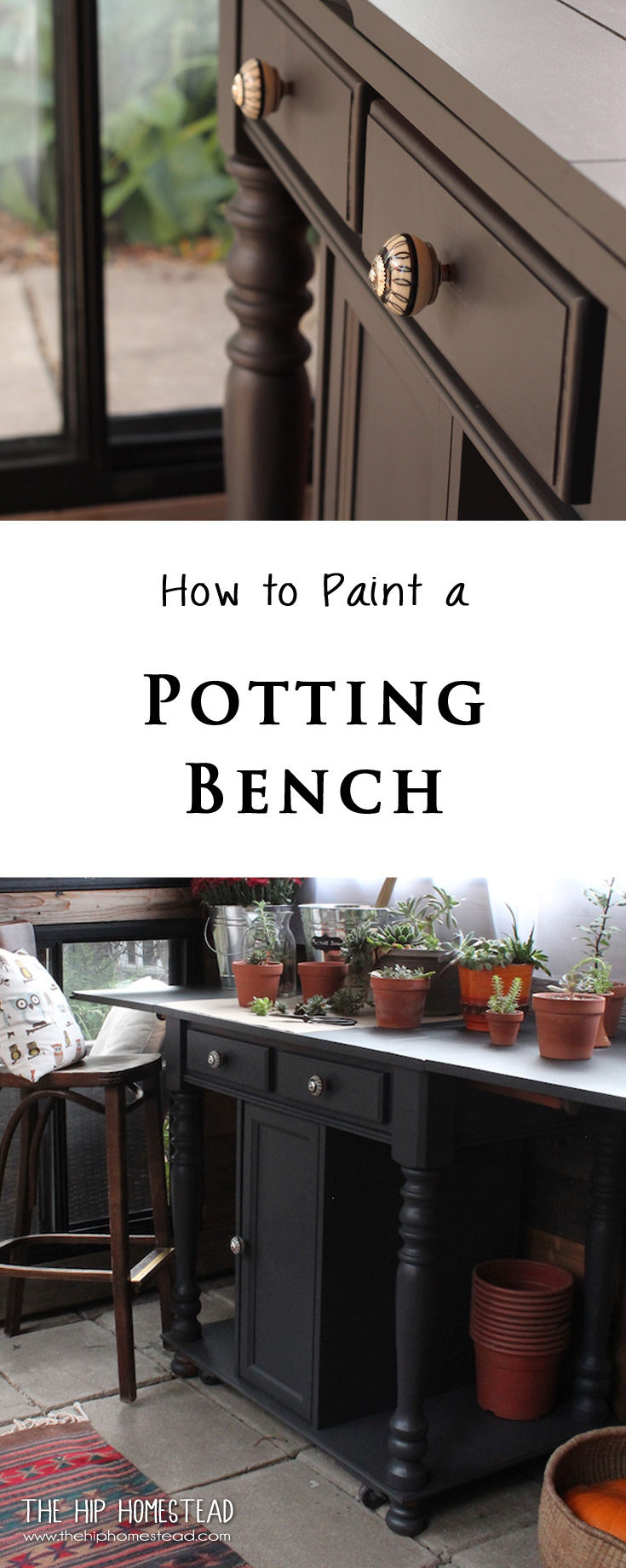 How to Paint a Potting Bench - The Hip Homestead