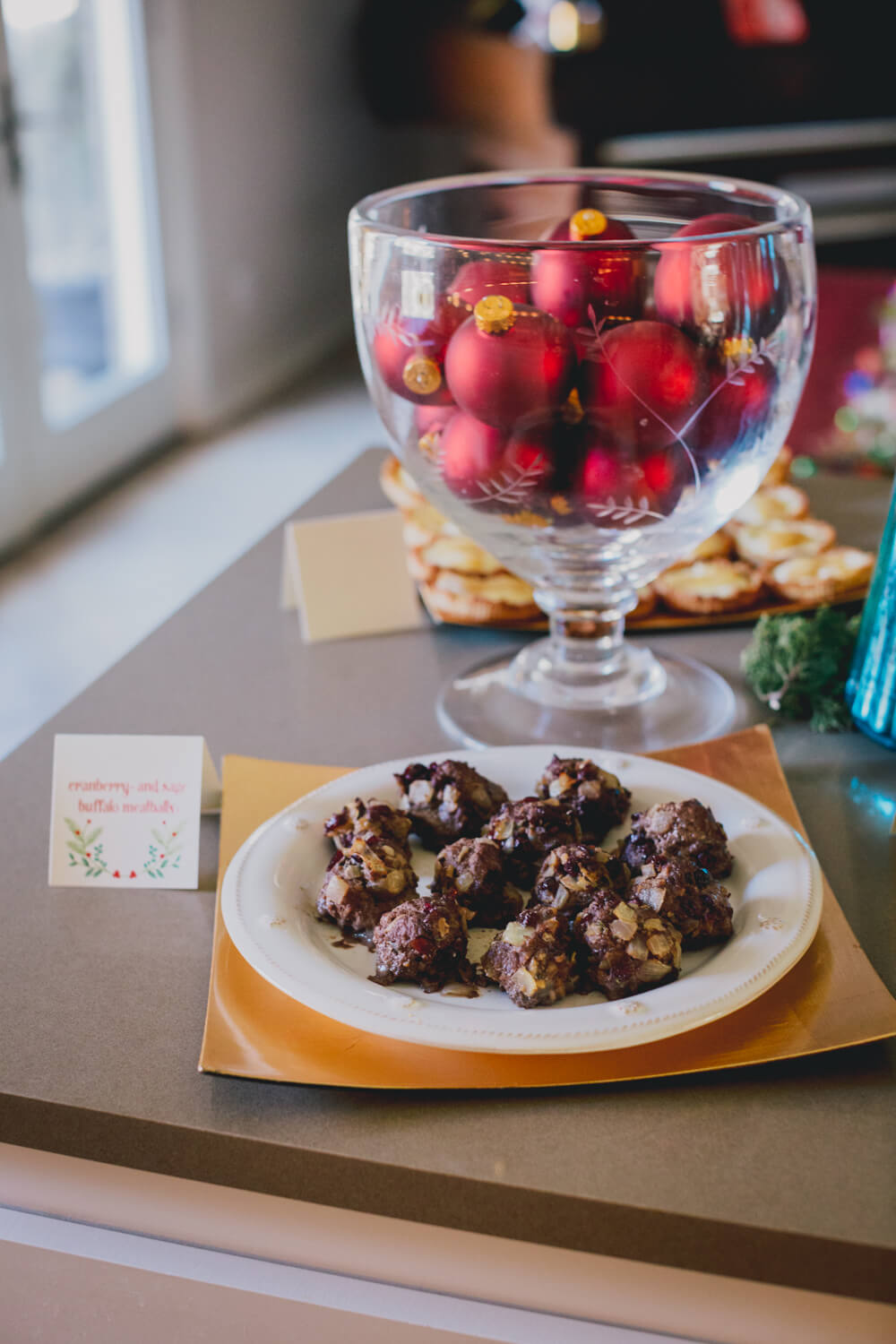 Paleo Cranberry and Sage Buffalo Meatballs // Healthy Holiday Recipe // www.thehisfor.com