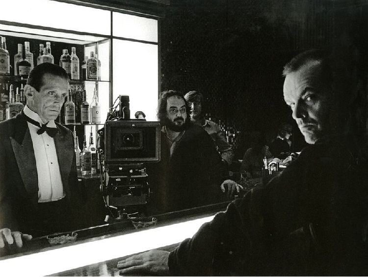 Jack Nicholson, Joe Turkel and Stanley Kubrick behind the scenes of 'The Shining' (1980)