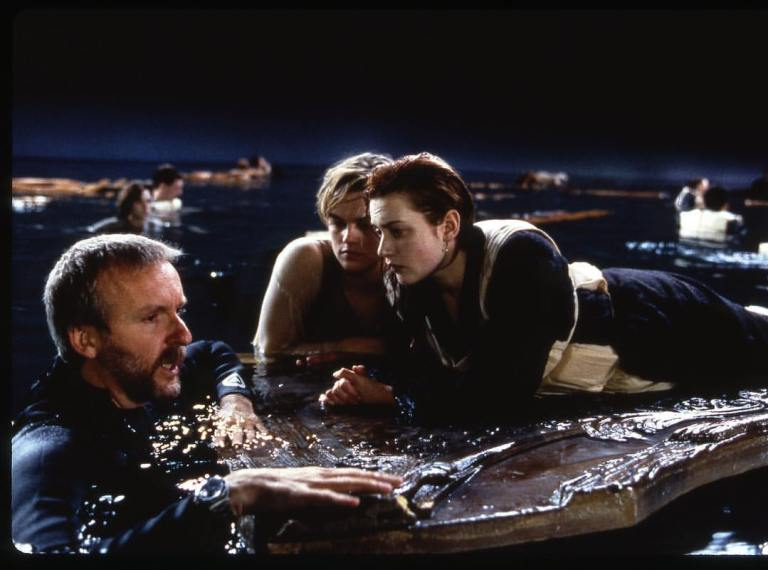 Could Jack fit on that door?  James Cameron directing Leonardo DiCaprio and Kate Winslet in