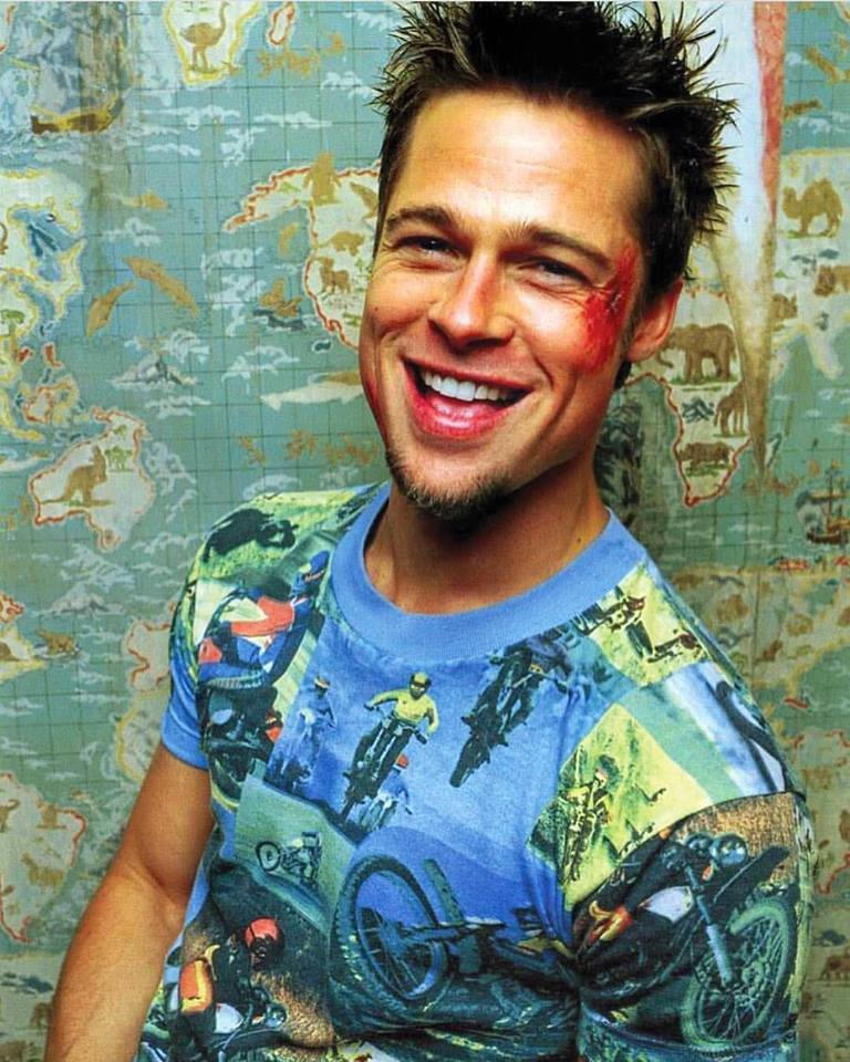 """""""It's only after we've lost everything that we're free to do anything"""". Brad Pitt as Tyler Durden in 'Fight Club' (1999)"""