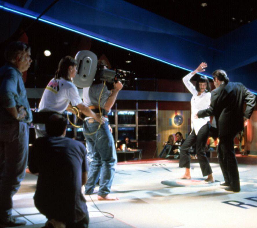 John Travolta and Uma Thurman shooting for