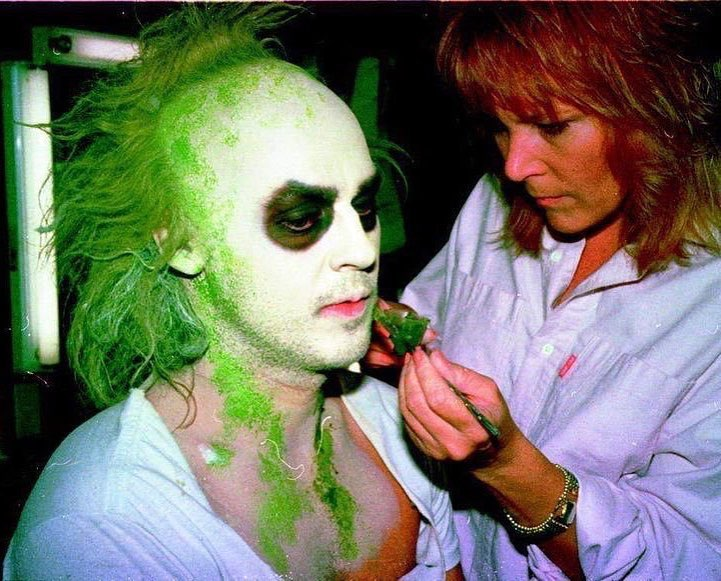 Michael Keaton and make-up artist Ve Neill behind the scenes of 'Beetlejuice' (1988)