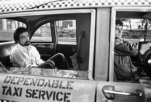 Martin Scorsese and Robert De Niro behind the scenes of 'Taxi Driver' (1976)