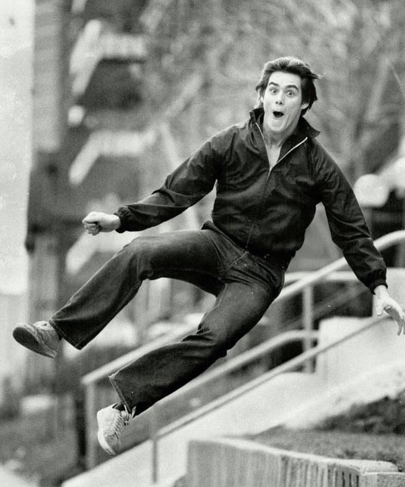 19-year-old Jim Carrey jumping for joy, 1981
