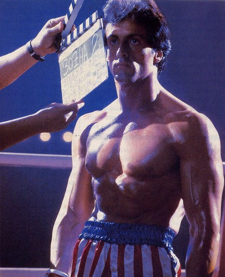 Sylvester Stallone ready for action in 'Rocky IV' (1985)