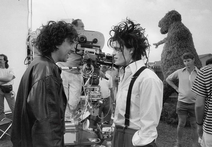 Tim Burton and Johnny Depp behind the scenes of