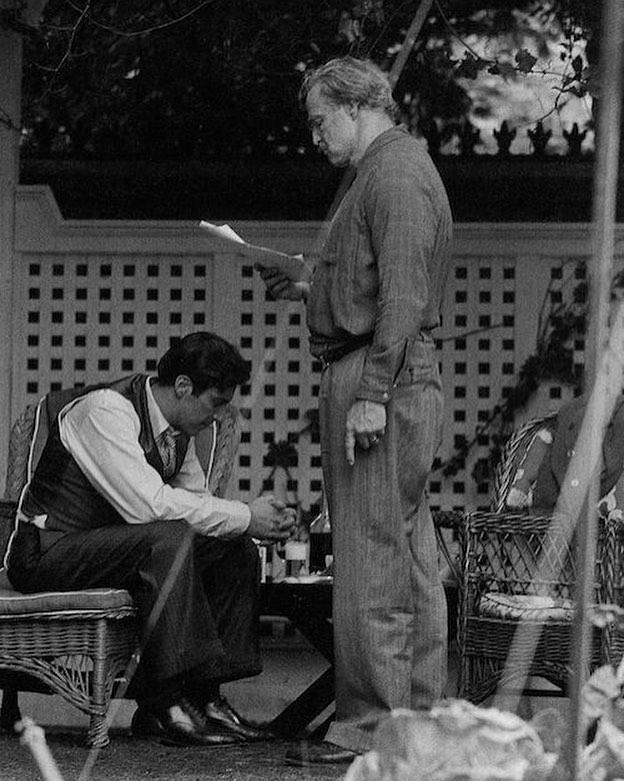 Al Pacino and Marlon Brando rehearsing in the set of