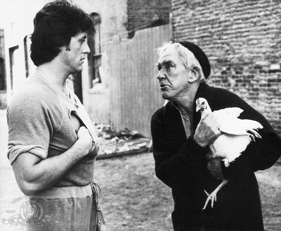 Burgess Meredith as Mickey act with Sylvester Stallone in 'Rocky II' (1979)