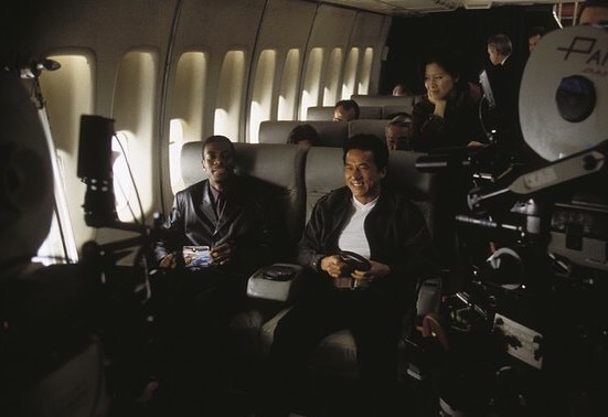 Jackie Chan and Chris Tucker behind the scenes of 'Rush Hour' (1998)