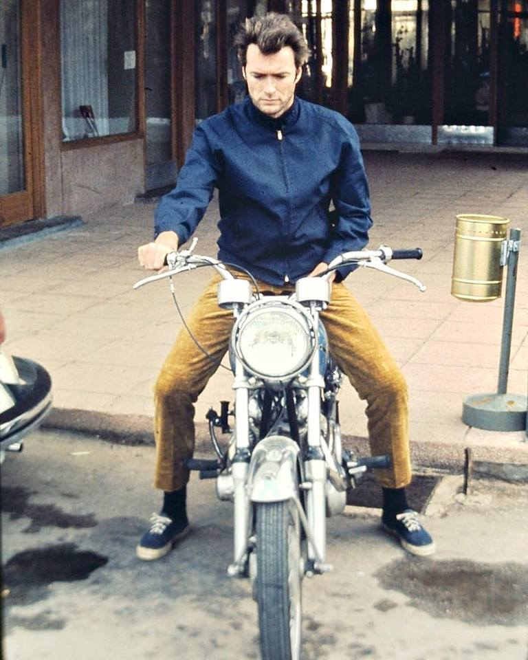 Clint Eastwood on his motorcycle, late 1960s