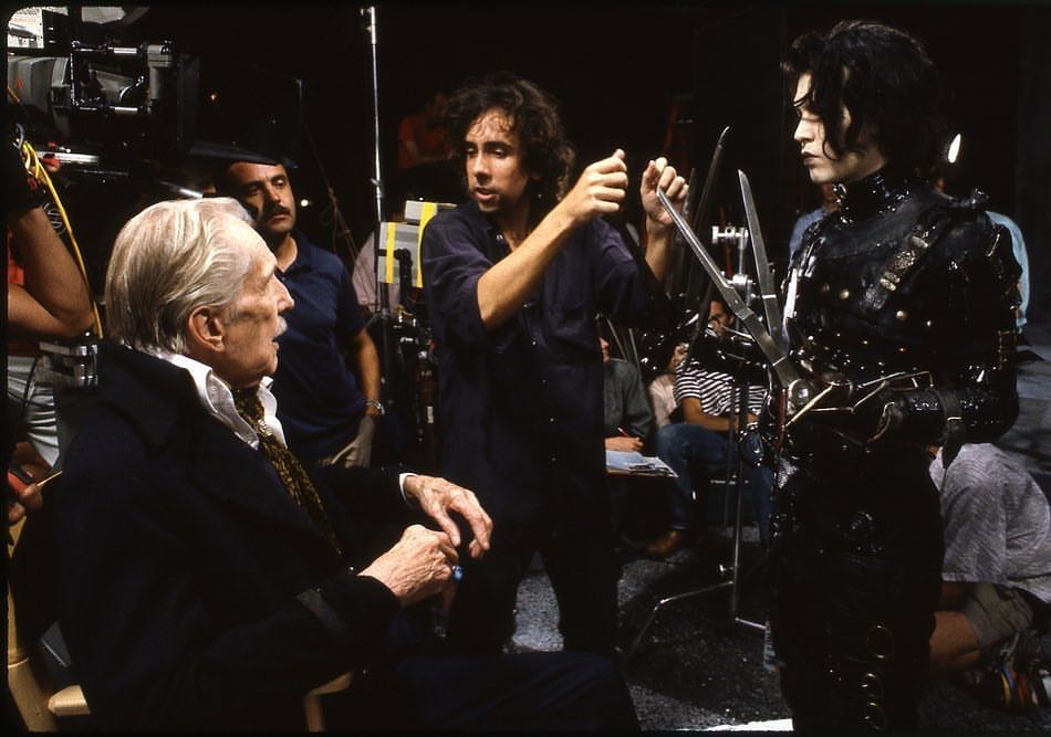 Tim Burton directing Johnny Depp and Vincent Price in 'Edward Scissorhands' (1990)