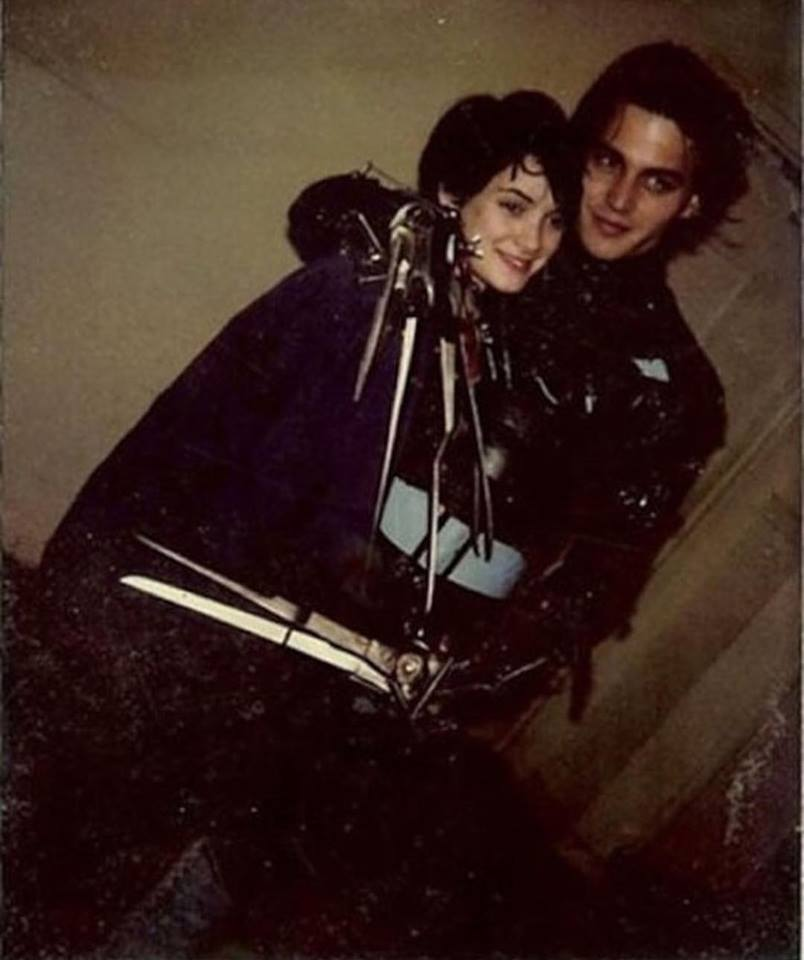 Johnny Depp and Winona Ryder behind the scenes of
