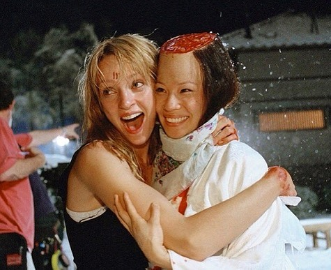 Uma Thurman and Lucy Liu behind the scenes of 'Kill Bill: Vol. 1' (2003). Friendship wins
