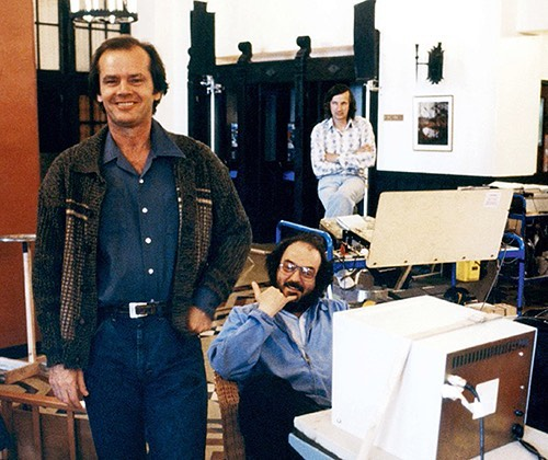 Jack Nicholson and Stanley Kubrick (doing a hang loose) behind the scenes of