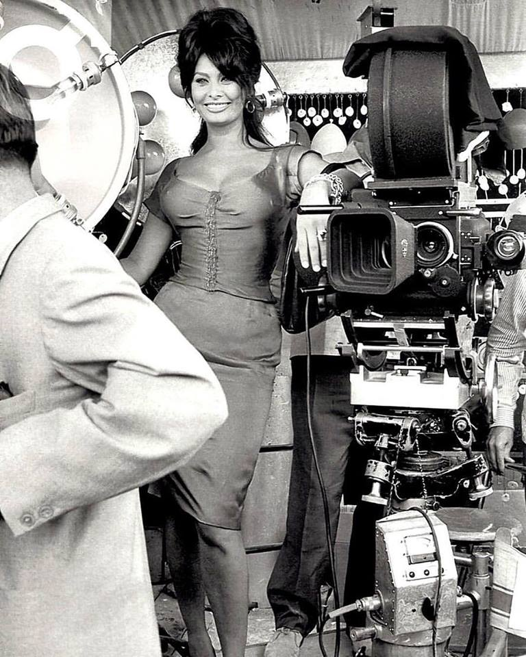 Sophia Loren behind the scenes of the italian film